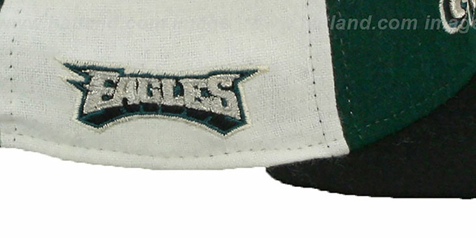 Eagles 'TRIPLE MELTON STRAPBACK' Green-White-Black Hat by New Era