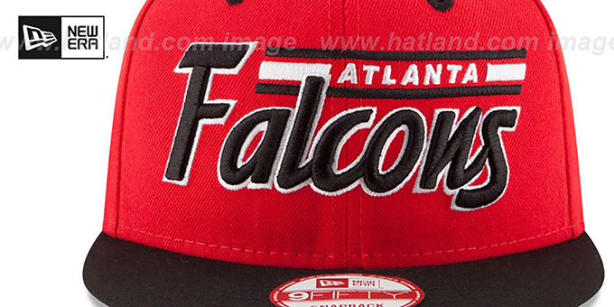 Falcons '2T RETRO-SCRIPT SNAPBACK' Red-Black Hat by New Era