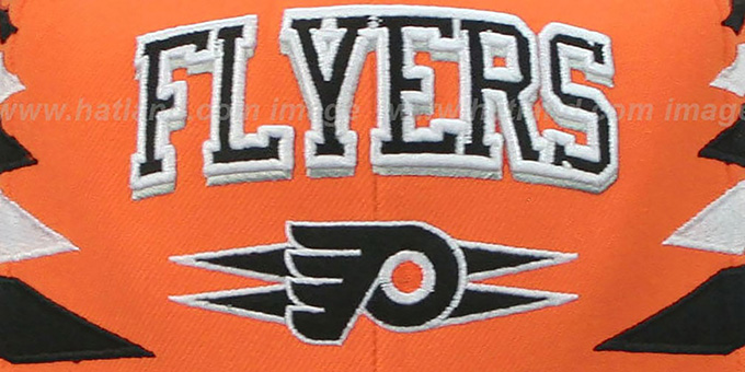 Flyers '2T DIAMONDS SNAPBACK' Orange-Black Adjustable Hat by Mitchell & Ness