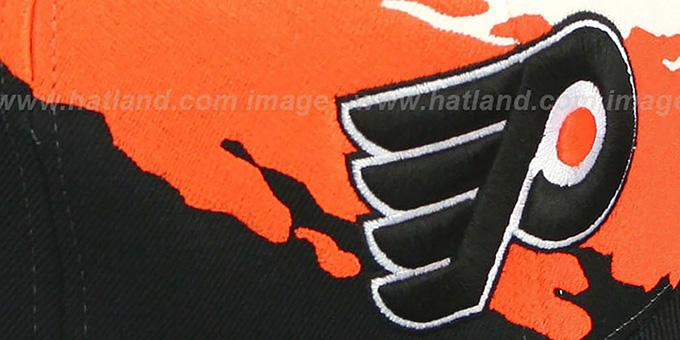 dca79c1ceb4 ... Flyers  PAINTBRUSH SNAPBACK  White-Orange-Black Hat by Mitchell   Ness