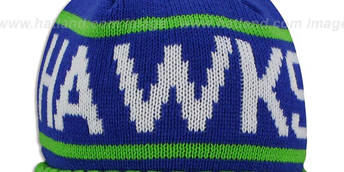 Hawks 'HIGH-5 CIRCLE BEANIE' Royal-Green by Mitchell and Ness
