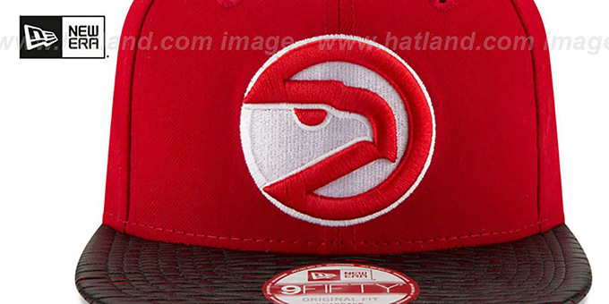 Hawks 'HWC LEATHER-RIP SNAPBACK' Red-Black Hat by New Era