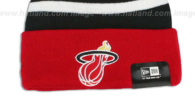 Heat 'BIG-SCREEN' Red-Black Knit Beanie Hat by New Era