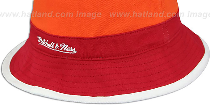 Heat 'COLOR-BLOCK BUCKET' White-Orange-Red Hat by Mitchell and Ness