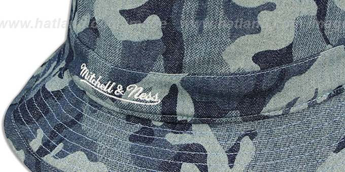 Heat 'DENIM-CAMO BUCKET' Blue Hat by Mitchell and Ness