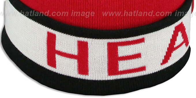 Heat 'THE-BUTTON' Knit Beanie Hat by Michell & Ness