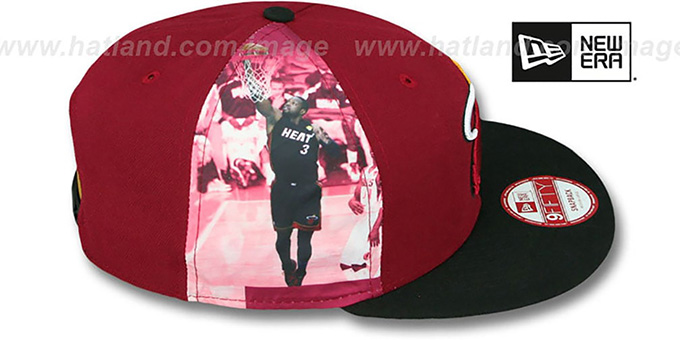 Heat WADE 'PLAYER-TWIST SNAPBACK' Maroon-Black Hat by New Era