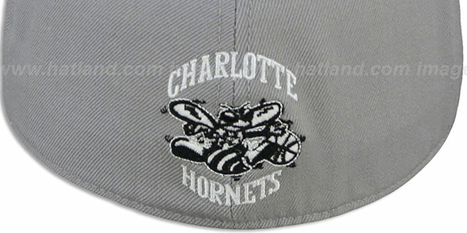 Hornets '2T XL-WORDMARK' Grey-Black Fitted Hat by Mitchell & Ness