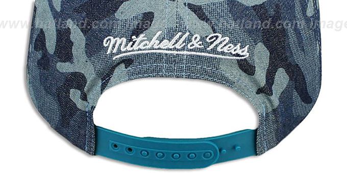 Hornets 'DENIM-CAMO SNAPBACK' Blue Hat by Mitchell and Ness