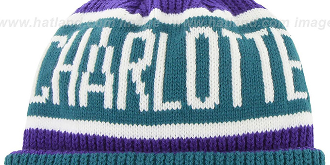 Hornets 'THE-CALGARY' Teal-Purple Knit Beanie Hat by Twins 47 Brand
