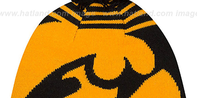 Iowa 'LOGO WHIZ' Black-Gold Knit Beanie Hat by New Era
