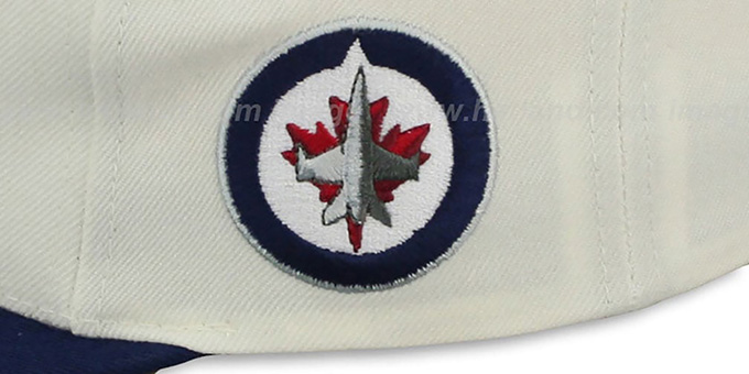 Jets '2T TAILSWEEPER SNAPBACK' White-Navy Hat by Mitchell & Ness