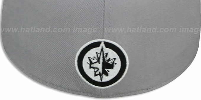 Jets '2T XL-WORDMARK' Grey-Black Fitted Hat by Mitchell & Ness
