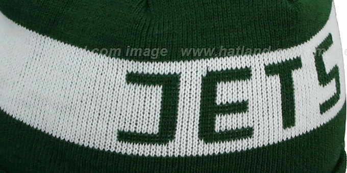 Jets 'JAKE-3' Green Knit Beanie Hat by New Era