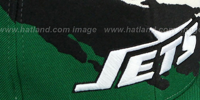 Jets 'PAINTBRUSH SNAPBACK' White-Black-Green Hat by Mitchell & Ness