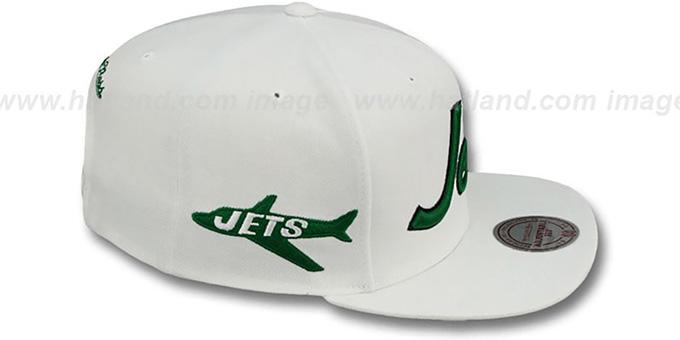 5a6edfae744 New York Jets TEAM-SCRIPT SNAPBACK White Hat by Mitchell   Ness