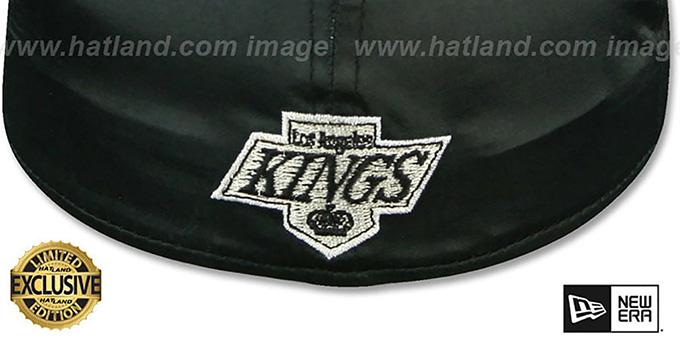 san francisco 73602 d6f8d ... Kings SCRIPT  SATIN BASIC  Black Fitted Hat by New Era ...