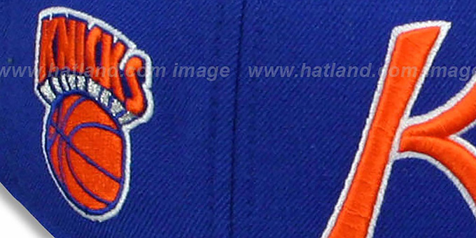 Knicks 'CLASSIC-SCRIPT' Royal Fitted Hat by Mitchell and Ness