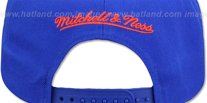 Knicks HWC 'CITY NICKNAME SCRIPT SNAPBACK' Royal-Orange Hat by Mitchell and Ness