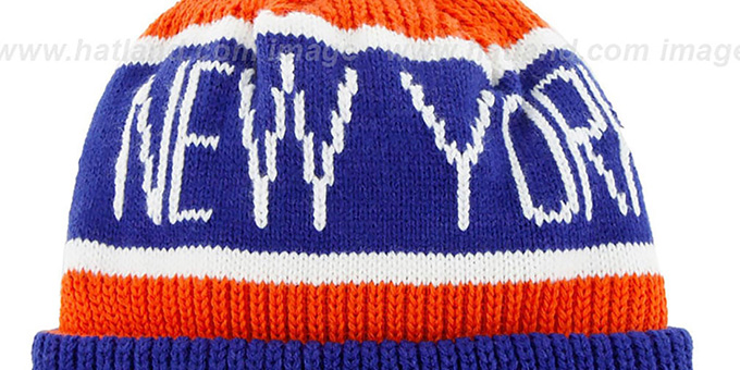 Knicks 'THE-CALGARY' Royal-Orange Knit Beanie Hat by Twins 47 Brand