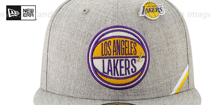 Lakers '2019 NBA DRAFT' Heather Grey Fitted Hat by New Era