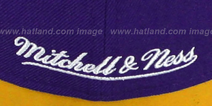 Lakers '2T XL-LOGO' Purple-Gold Fitted Hat by Mitchell & Ness
