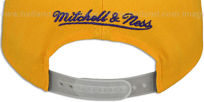 Lakers '3M XL-LOGO SNAPBACK' Gold-Grey Hat by Mitchell and Ness