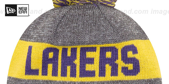 Lakers 'ARENA SPORT' Purple-Gold Knit Beanie Hat by New Era