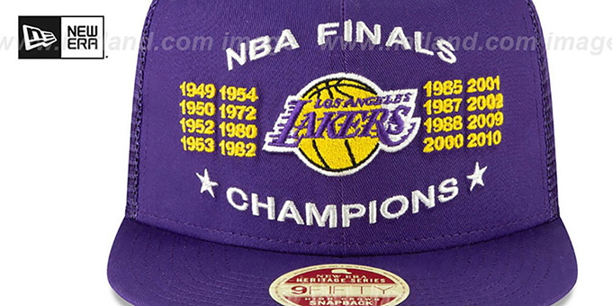 Lakers 'CHAMPIONS TRUCKER SNAPBACK' Purple Hat by New Era