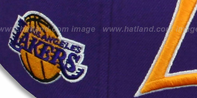 Lakers 'CLASSIC-SCRIPT' Purple Fitted Hat by Mitchell and Ness