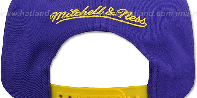 Lakers 'CROPPED SATIN SNAPBACK' Purple-Gold Adjustable Hat by Mitchell and Ness
