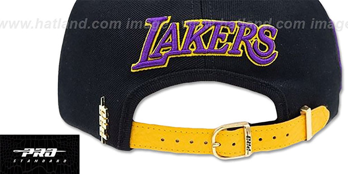 Lakers 'LEBRON SIDE STRAPBACK' Black-Gold Hat by Pro Standard
