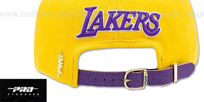 Lakers 'LEBRON SIDE STRAPBACK' Gold-Purple Hat by Pro Standard
