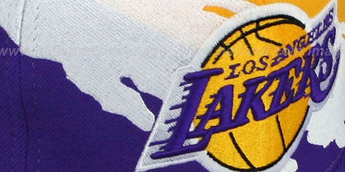 Lakers 'PAINTBRUSH SNAPBACK' Gold-White-Purple Hat by Mitchell & Ness