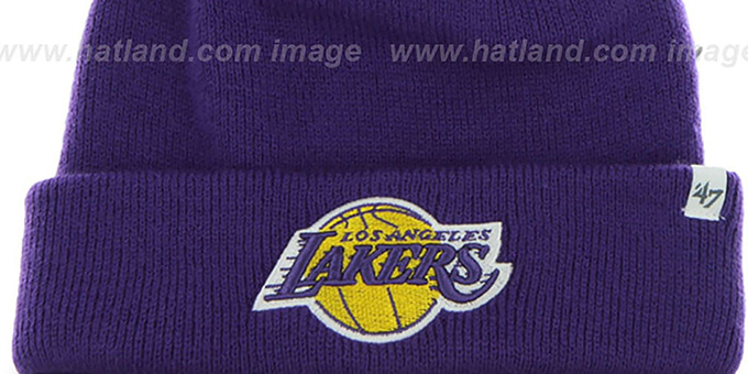 0e69e342c96 ... Lakers  POMPOM CUFF  Purple Knit Beanie Hat by Twins 47 Brand