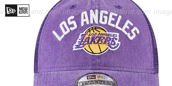 2ff3899bc2f2b ... Lakers  RUGGED-TEAM TRUCKER SNAPBACK  Purple Hat by New Era ...