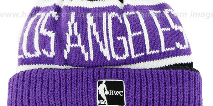 Lakers 'THE-CALGARY' Purple-Black Knit Beanie Hat by Twins 47 Brand