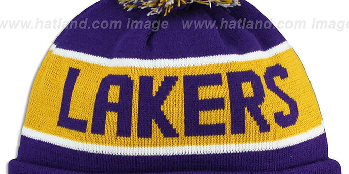 Lakers 'THE-COACH' Purple Knit Beanie Hat by New Era
