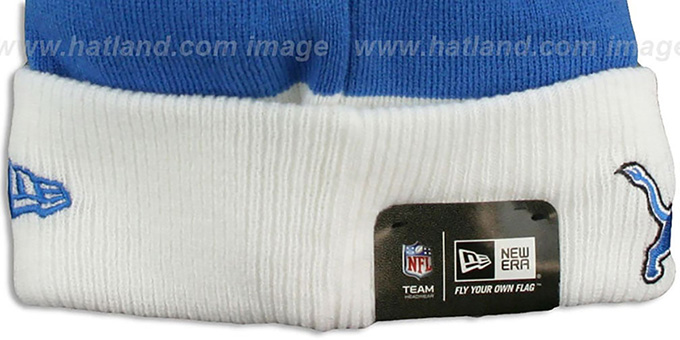 Lions 'CUFF-SCRIPTER' White-Blue-Grey Knit Beanie Hat by New Era