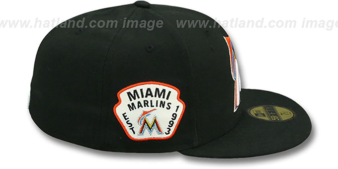 Marlins 'SIDE TEAM-PATCH' Black Fitted Hat by New Era