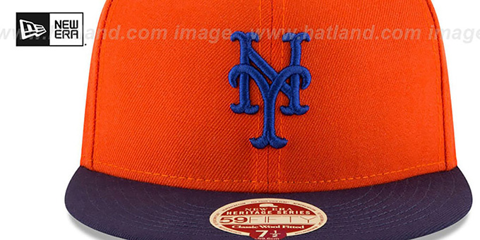 Mets 'MLB WOOL-STANDARD' Orange-Navy Fitted Hat by New Era