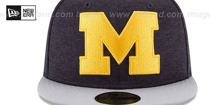 Michigan 'HEATHER-HUGE 2' Navy-Grey Fitted Hat by New Era