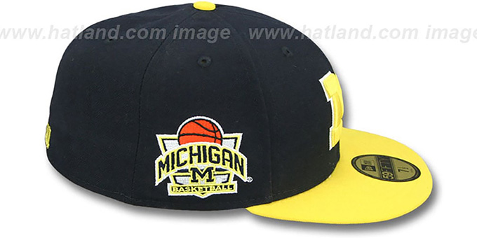 Michigan 'SIDE BASKETBALL-PATCH' Navy-Gold Fitted Hat by New Era