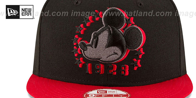 Mickey Mouse 'SHADOW SLICE SNAPBACK' Black-Red Hat by New Era