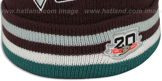 Mighty Ducks 'XL-LOGO BEANIE ROAD' Plum by Mitchell and Ness