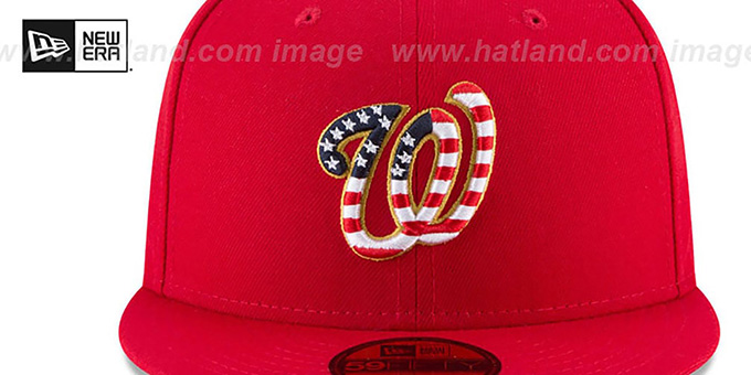ab73672d6ed ... Nationals  2018 JULY 4TH STARS N STRIPES  Red Fitted Hat by New Era ...