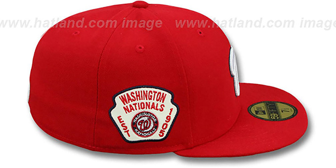 ... Nationals  SIDE TEAM-PATCH  Red Fitted Hat by New Era ... 9d8857d684f