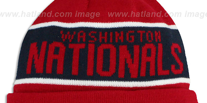 d71f656ab17ba ... Nationals  THE-COACH  Red Knit Beanie Hat by New Era