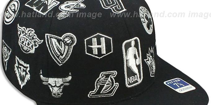 NBA 'THROWBACK ALL-OVER' Black Fitted Hat by Reebok