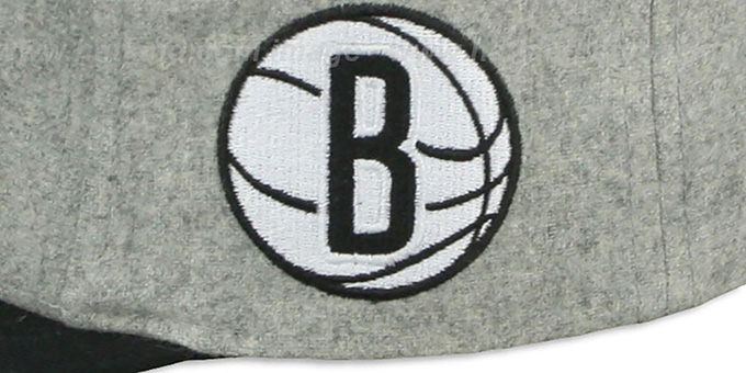 Nets '2T TAILSWEEPER STRAPBACK' Grey-Black Hat by Mitchell and Ness
